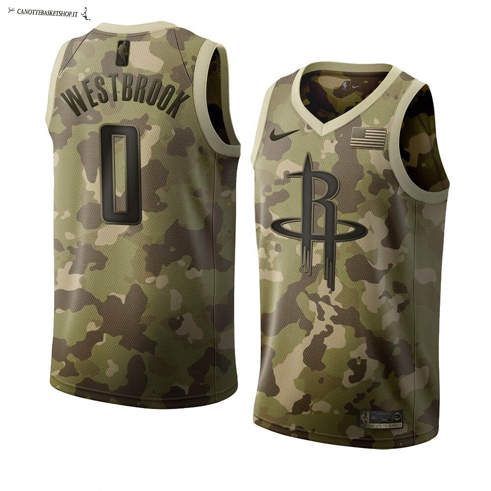 Comprare Maglia NBA Nike Houston Rockets NO.0 Russell Westbrook Camouflage 2019