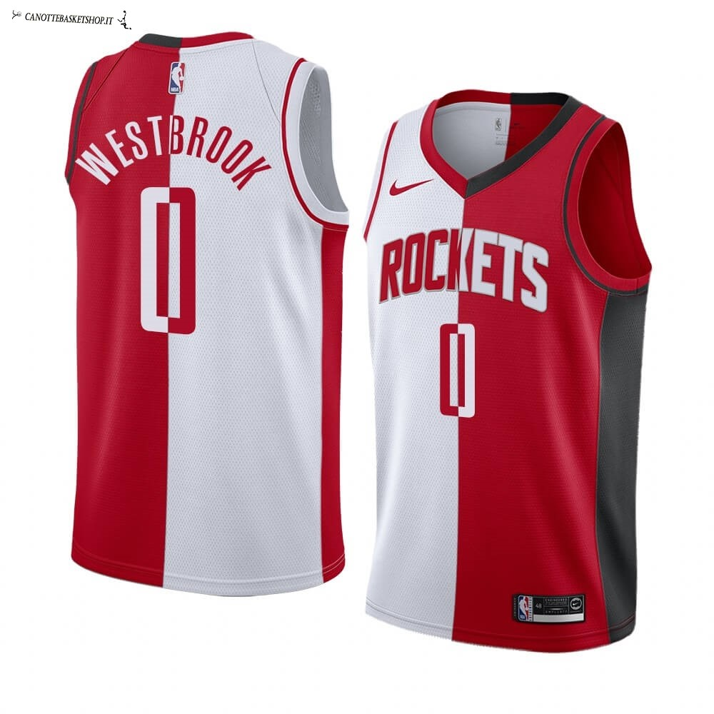 Comprare Maglia NBA Nike Houston Rockets NO.0 Russell Westbrook Rosso Bianco Split Edition