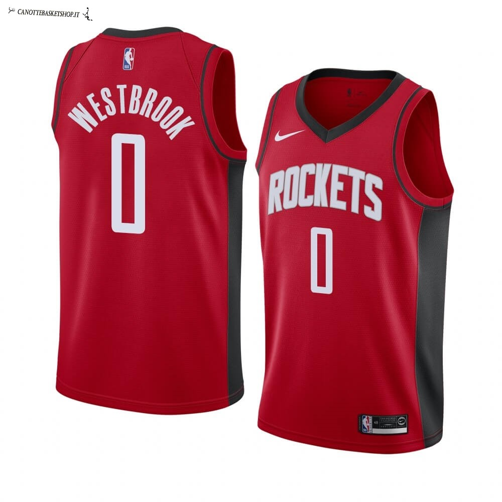 Comprare Maglia NBA Nike Houston Rockets NO.0 Russell Westbrook Rosso Icon 2019-20