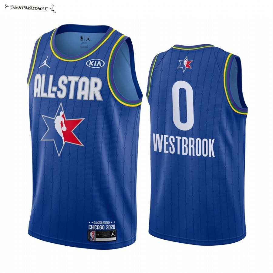 Comprare Maglia NBA 2020 All Star NO.0 Russell Westbrook Blu