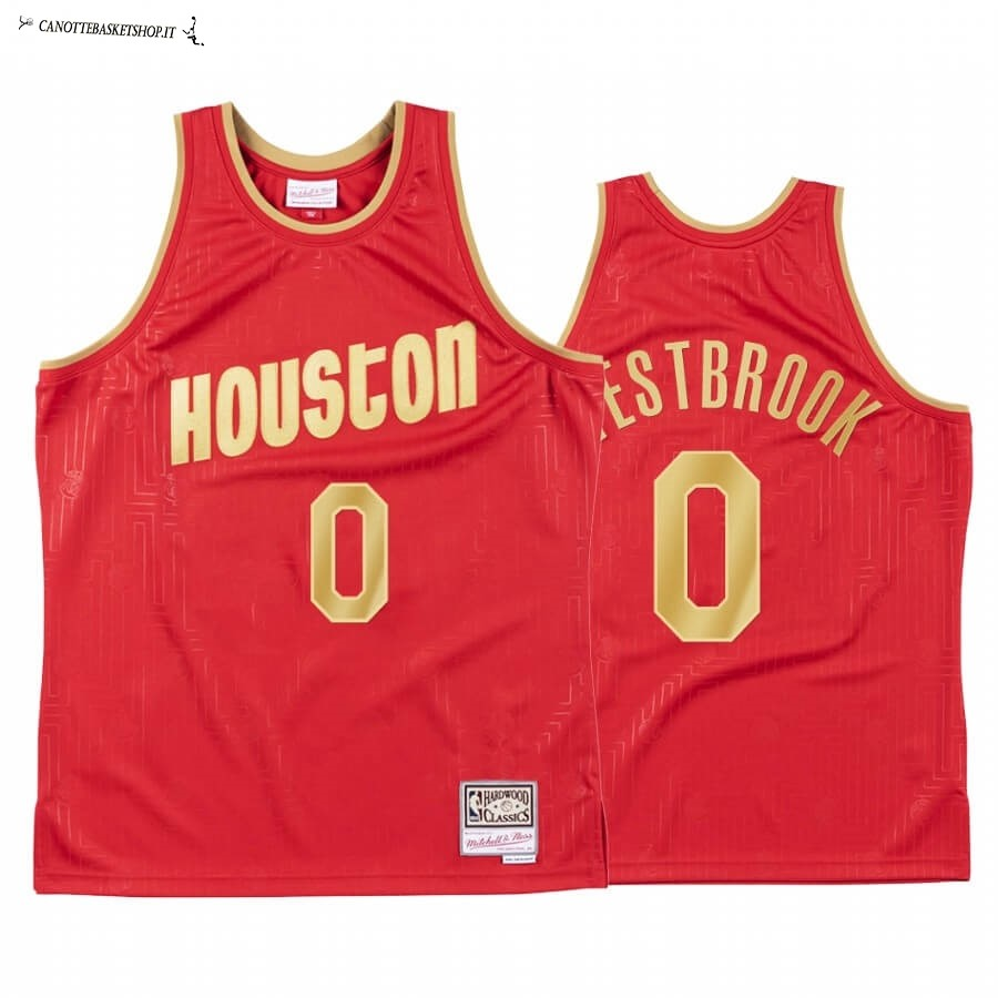 Comprare Maglia NBA CNY Throwback Huston Rockets NO.0 Russell Westbrook Rosso 2020