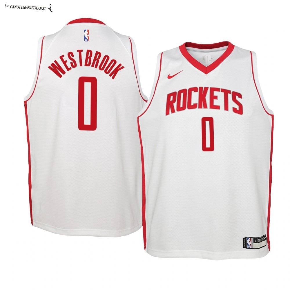 Comprare Maglia NBA Bambino Houston Rockets NO.0 Russell Westbrook Bianco Association 2019-20