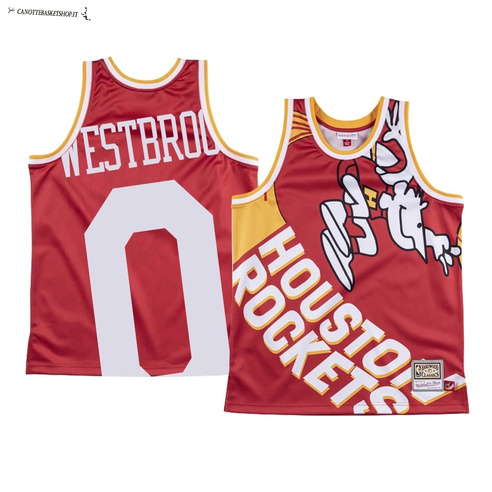Comprare Maglia NBA Houston Rockets Big Face NO.0 Russell Westbrook Rosso
