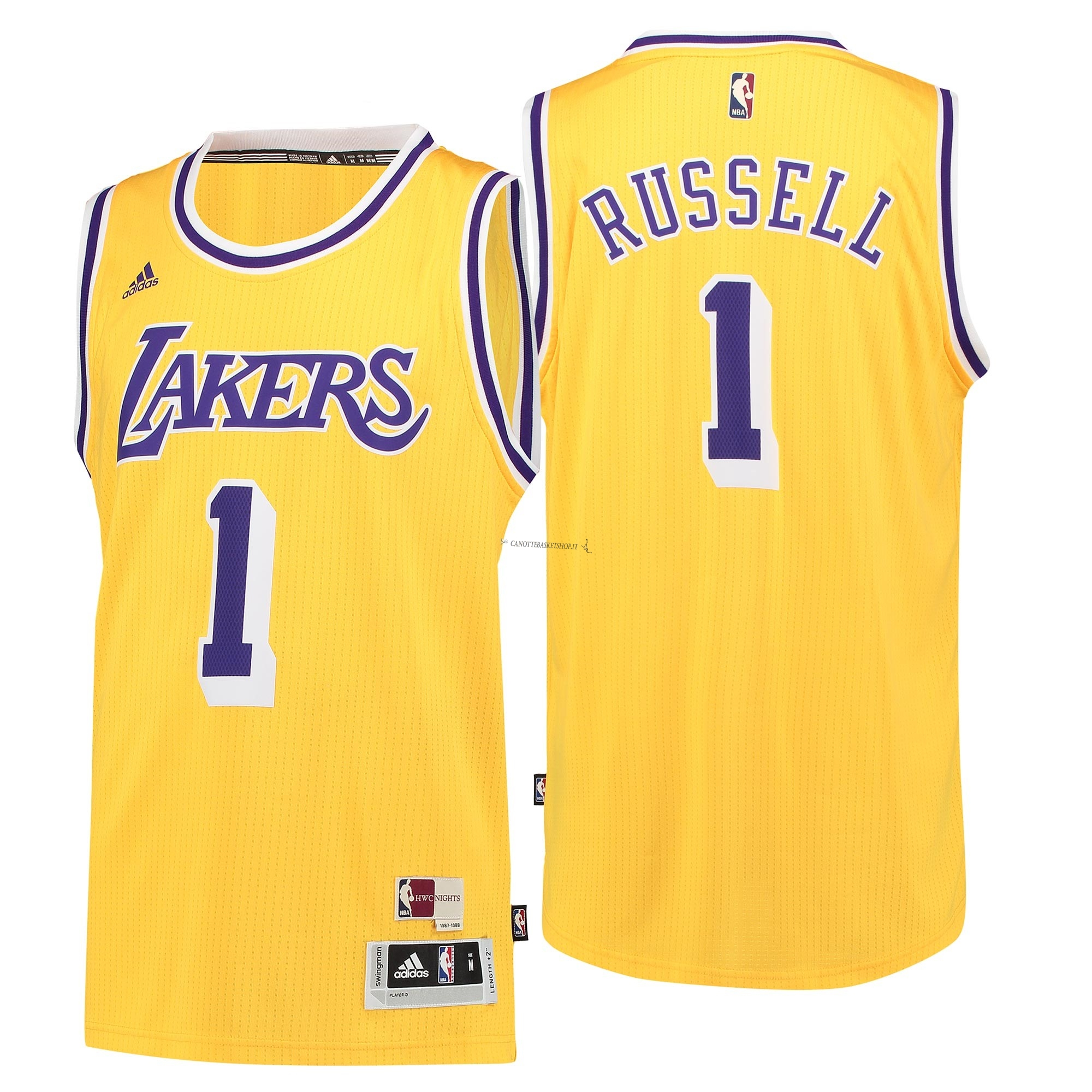 Comprare Maglia NBA Los Angeles Lakers NO.1 D'Angelo Russell Retro Blu