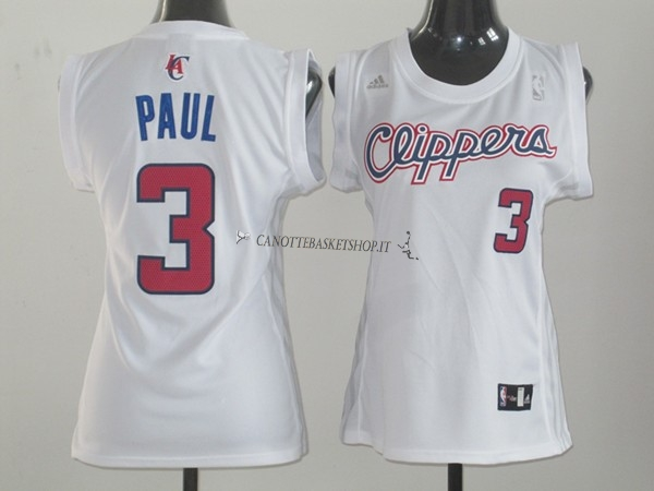 Comprare Maglia NBA Donna Los Angeles Clippers NO.3 Chris Paul Bianco