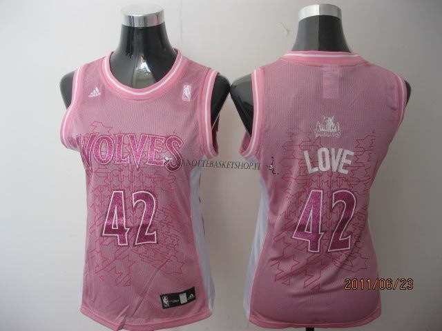 Comprare Maglia NBA Donna Minnesota Timberwolves NO.42 Kevin Love Rose