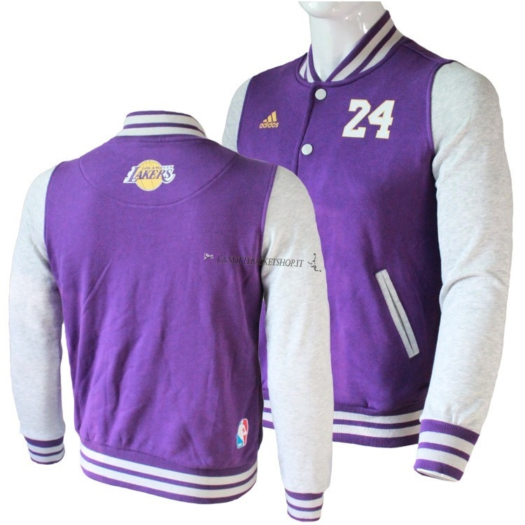 Comprare Giacca Di Lana NBA Los Angeles Lakers NO.24 Kobe Bryant Porpora