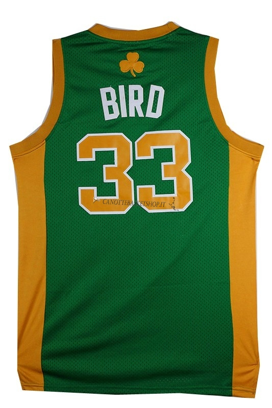 Comprare Maglia NBA Boston Celtics No.33 Larry Joe Bird Verde Arancia