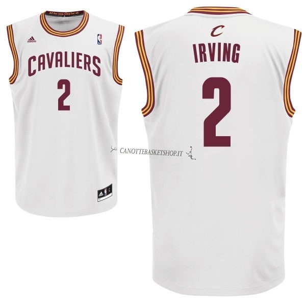 Comprare Maglia NBA Cleveland Cavaliers NO.2 Kyrie Irving Bianco