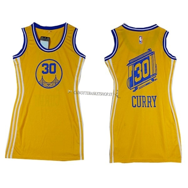 Comprare Maglia NBA Donna Golden State Warriors NO.30 Stephen Curry Giallo