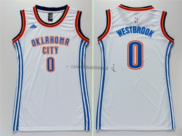 Comprare Maglia NBA Donna Oklahoma City Thunder NO.0 Russell Westbrook Bianco