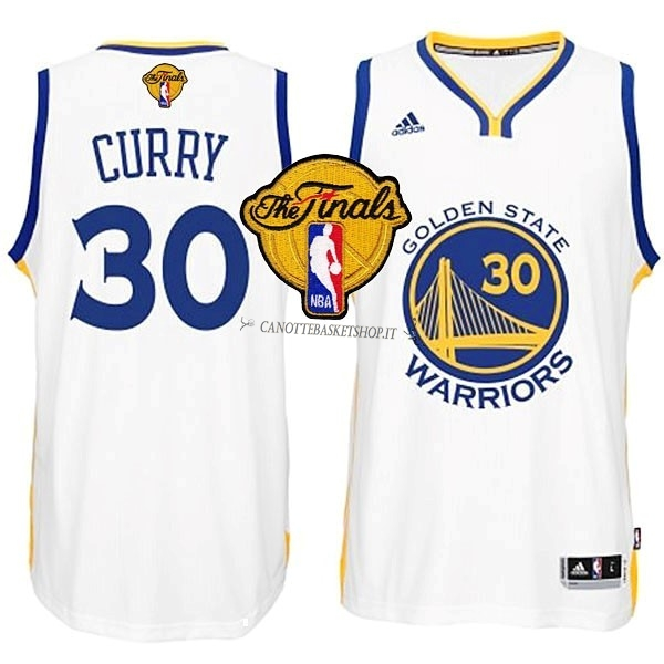 Comprare Maglia NBA Golden State Warriors Finale NO.30 Curry Bianco