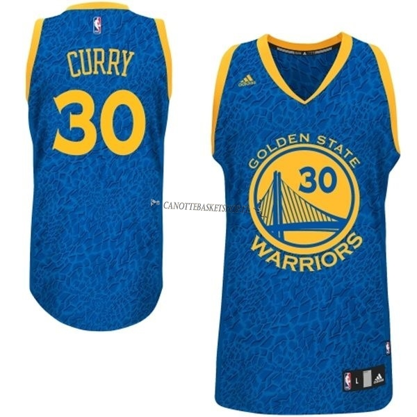 Comprare Maglia NBA Golden State Warriors Luce Leopard NO.30 Curry Blu