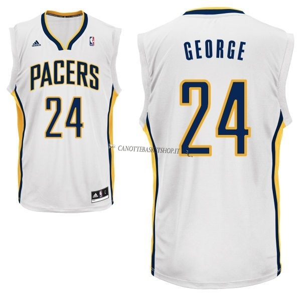 Comprare Maglia NBA Indiana Pacers NO.24 Paul George Bianco
