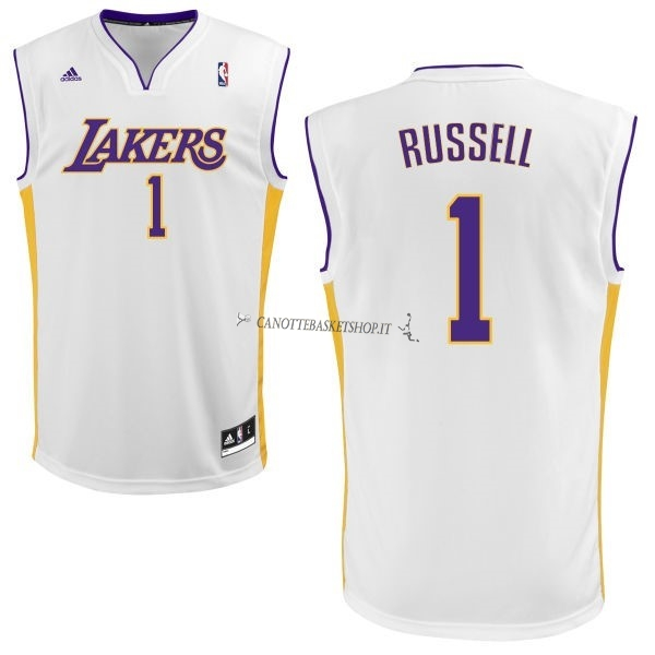 Comprare Maglia NBA Los Angeles Lakers NO.1 D'Angelo Russell Bianco