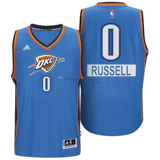 Comprare Maglia NBA Oklahoma City Thunder 2014 Natale NO.0 Russell Blu