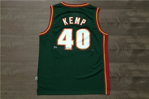 Comprare Maglia NBA Seattle Supersonics NO.40 Shawn Kemp Retro Verde