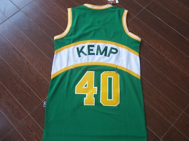 Comprare Maglia NBA Seattle Supersonics NO.40 Shawn Kemp Verde