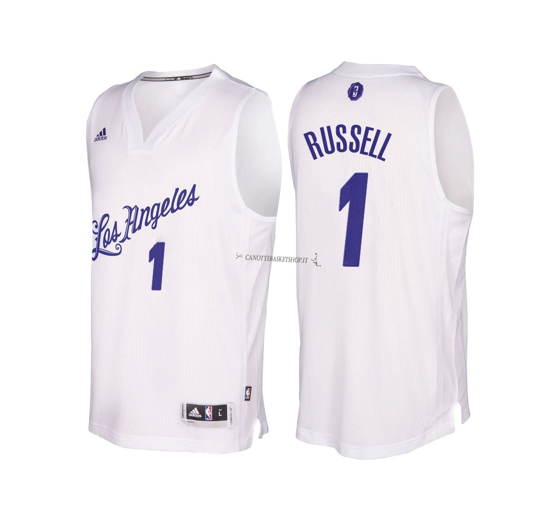 Comprare Maglia NBA Los Angeles Lakers 2016 Natale NO.1 D'Angelo Russell Bianco