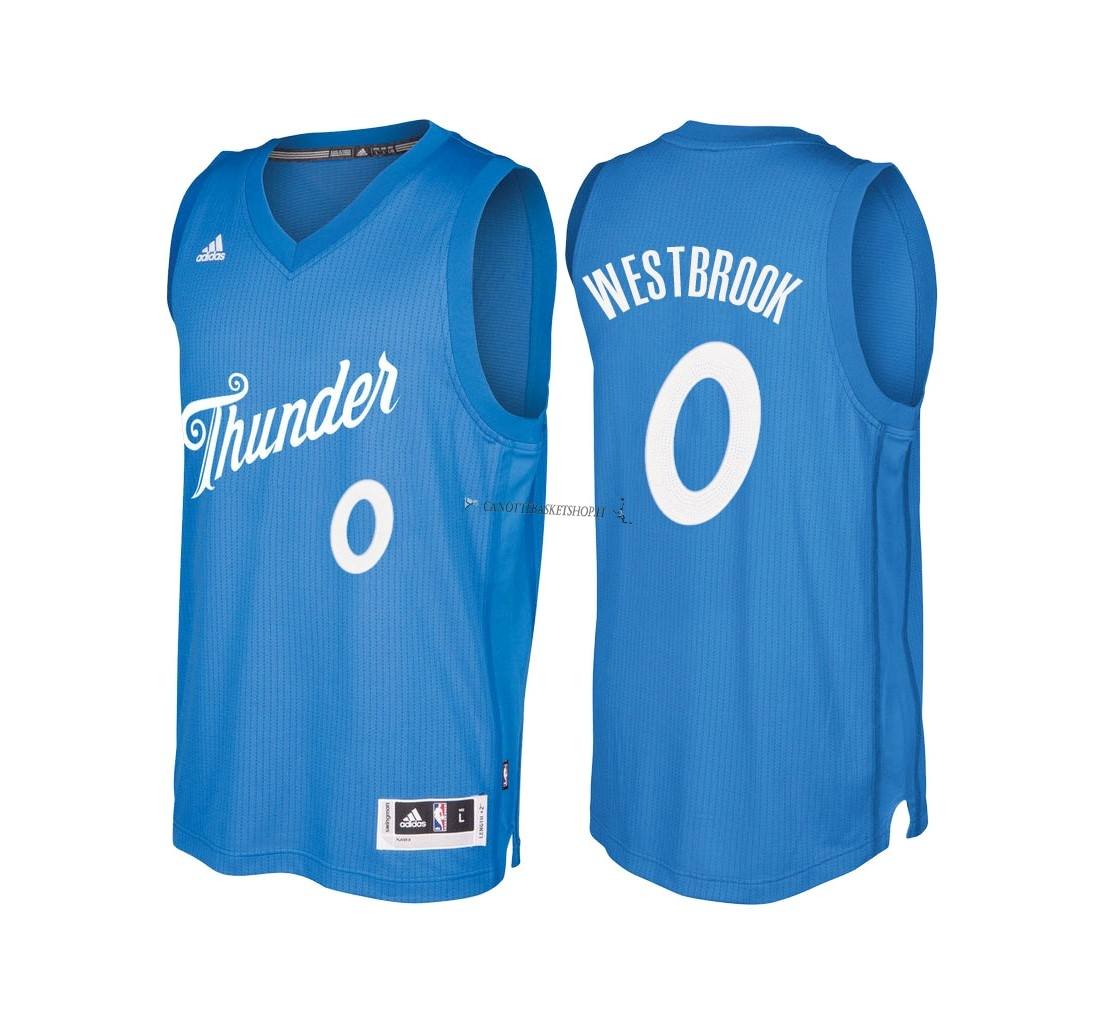 Comprare Maglia NBA Oklahoma City Thunder 2016 Natale NO.0 Russell Westbrook Blu
