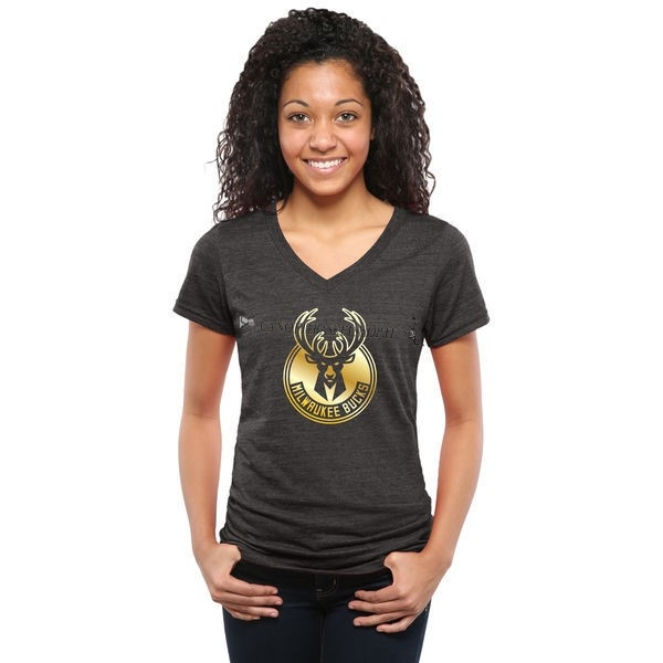 Comprare T-Shirt Donna Milwaukee Bucks Nero Oro